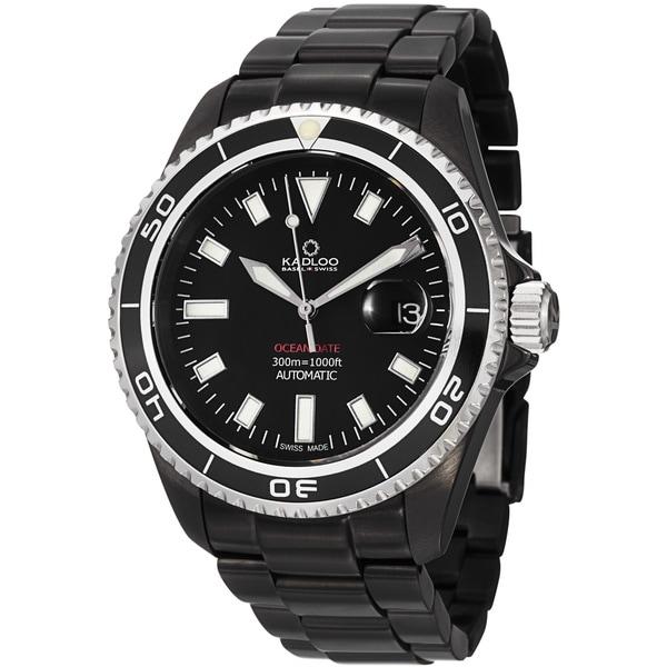 Kadloo Men's 'Ocean Date' Black Stainless Steel Automatic Watch