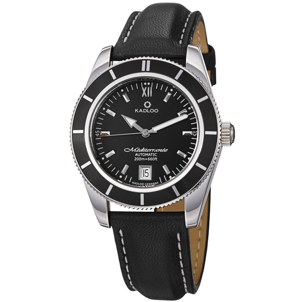 Kadloo Men's 'Mediterranee' Black Dial Stainless Steel Automatic Watch