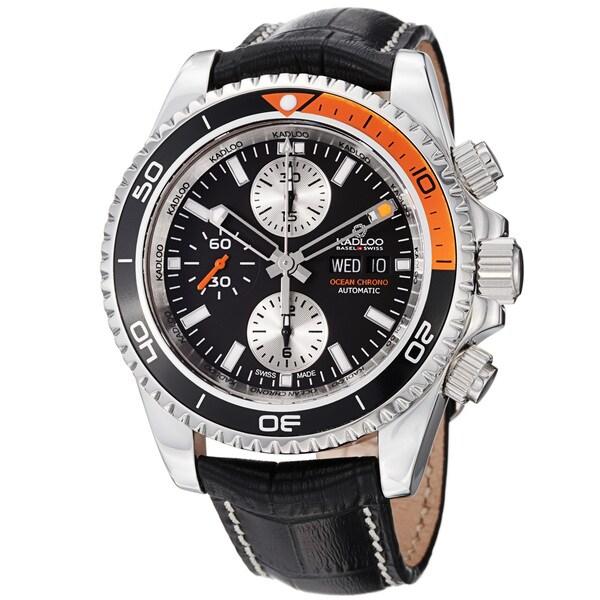 Kadloo Men's 'Ocean Chrono' Black Dial Leather Strap Chronograph Watch