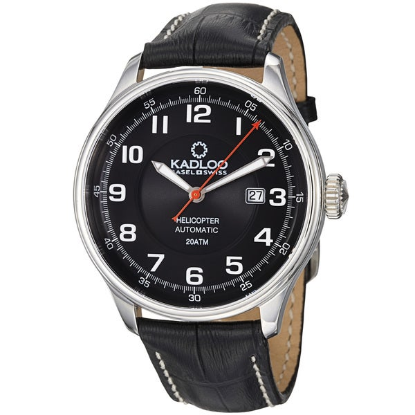 Kadloo Men's 'Helicopter' Black Dial Black Leather Strap Watch
