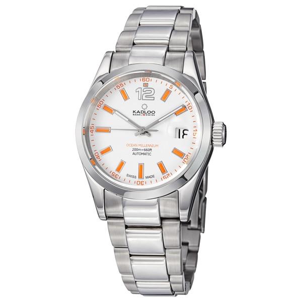 Kadloo Men's 'Millenium' White Dial Stainless Steel Watch