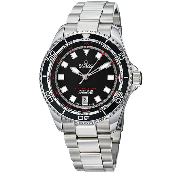 Kadloo Men's 86220-BK 'Vintage Trophy' Black Dial Stainless Steel Watch