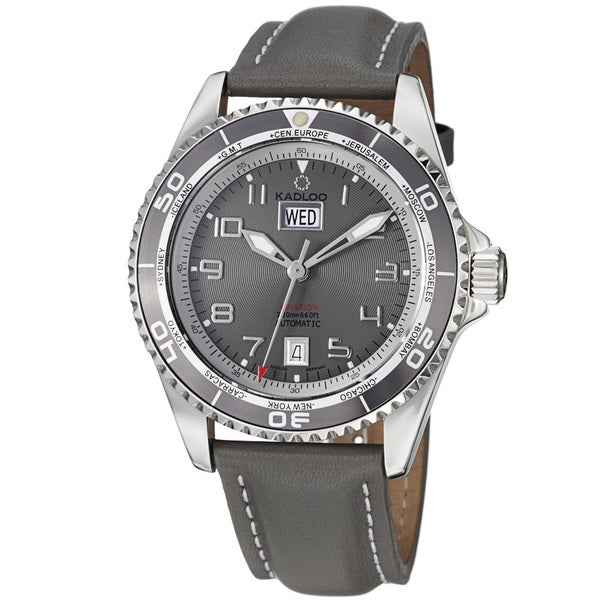 Kadloo Men's 'Aviation Day Date' Grey Leather Strap Automatic Watch