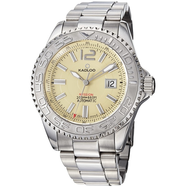 Kadloo Men's 85110-IV 'Mission' Ivory Dial Stainless Steel Automatic Watch