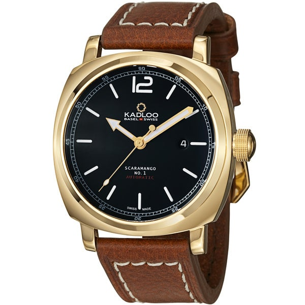 Kadloo Men's 'Scaramango' Black Dial Brown Strap Automatic Watch
