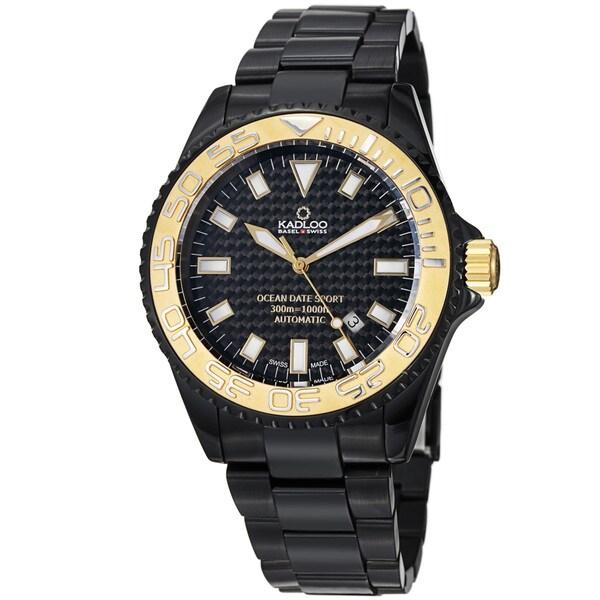 Kadloo Men's 80845-GL 'Ocean Sport' Black Dial Black Steel Automatic Watch