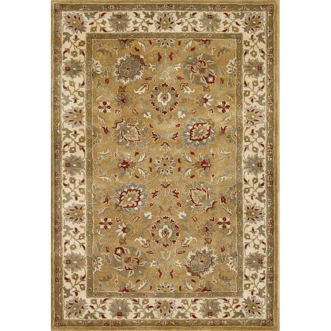 Alliyah Rugs Handmade Tufted Bronze Mist, Oyster White, Citadel, Pompean Red, and Leek Green New Zealand Wool Rug (9' x 12')