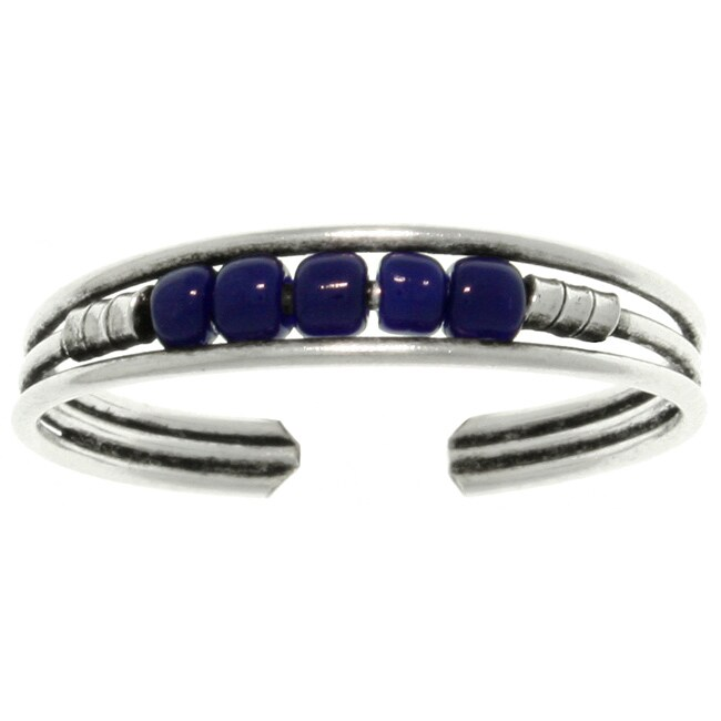 Carolina Glamour Collection Sterling Silver and Dark Blue Beaded Toe Ring