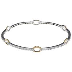 La Preciosa Sterling Silver Cubic Zirconia Ring Bangle