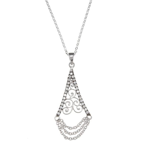La Preciosa Sterling Silver Triangular Black Rhodium Swirl Necklace