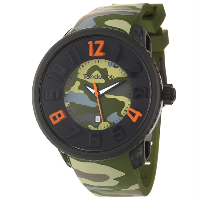 Tendence Men's 'Gulliver Round' Polycarbonate Stainless Steel Quartz Watch in Green Camouflage Print
