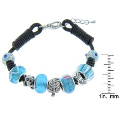 Eternally Haute Silverplated and Leather Aqua Murano Style Glass Charms Bracelet - Thumbnail 1