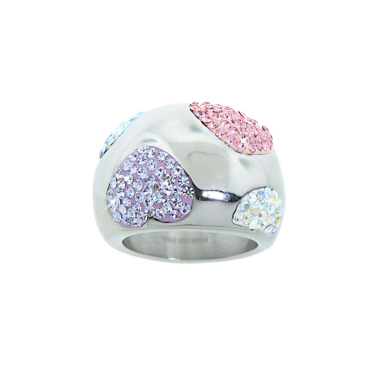 Eternally Haute Stainless Steel Multi-colored Crystal Heart Cocktail Ring