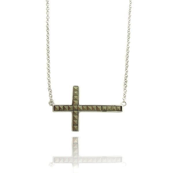 Dolce Giavonna Silver Overlay Square Marcasite Sideways Cross Necklace