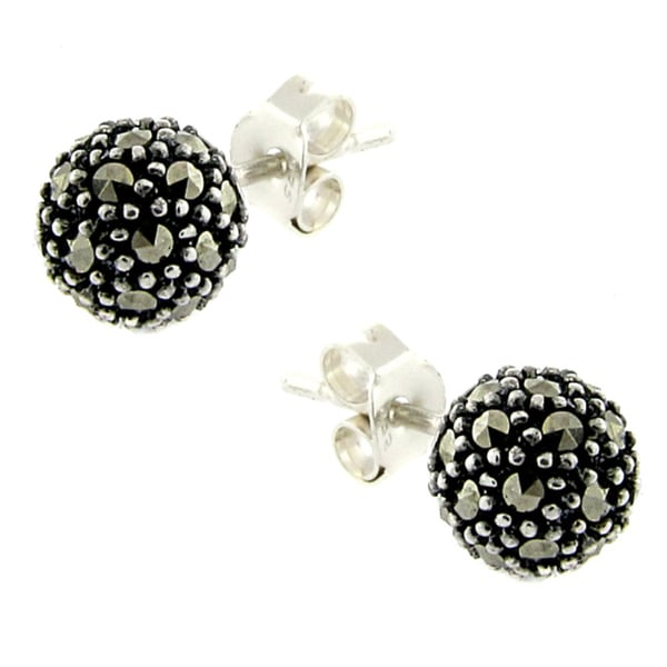 Dolce Giavonna Silverplated Marcasite Ball Stud Earrings