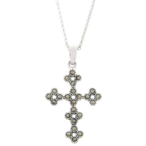 Dolce Giavonna Silverplated Marcasite Flower Design Cross Necklace