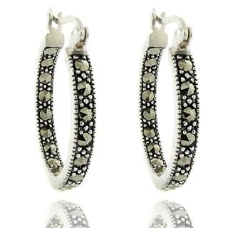 Dolce Giavonna Silver Overlay Marcasite Hoop Earrings
