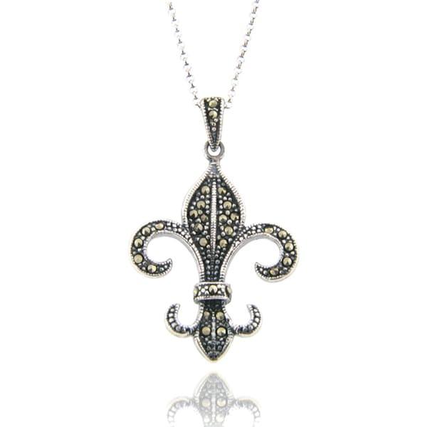 Dolce Giavonna Antique Silverplated Marcasite Fleur-de-lis Pendant Necklace
