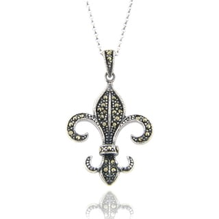 Dolce Giavonna Antique Silverplated Marcasite Fleur-de-lis Pendant Necklace
