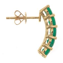 Anika and August 14k Yellow Gold Zambian Emerald Arc Earrings