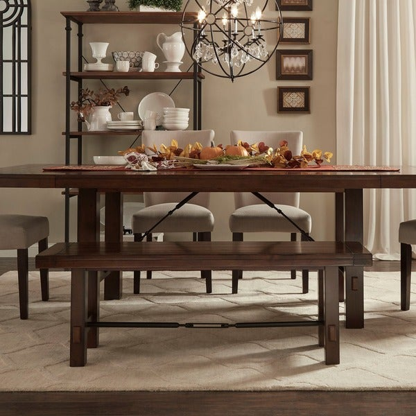Swindon Rustic Oak Turnbuckle Dining Bench By INSPIRE Q Classic   Free  Shipping Today   Overstock.com   14319134