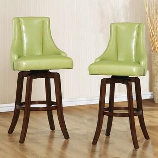 TRIBECCA HOME Vella Green Swivel Upholstered 29-inch Barstools (Set of 2)