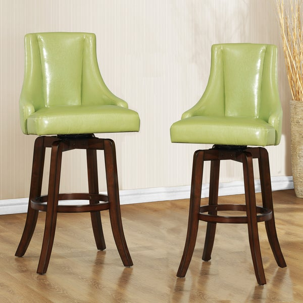TRIBECCA HOME Vella Green Swivel Upholstered 29-inch Barstools (Set of 2)