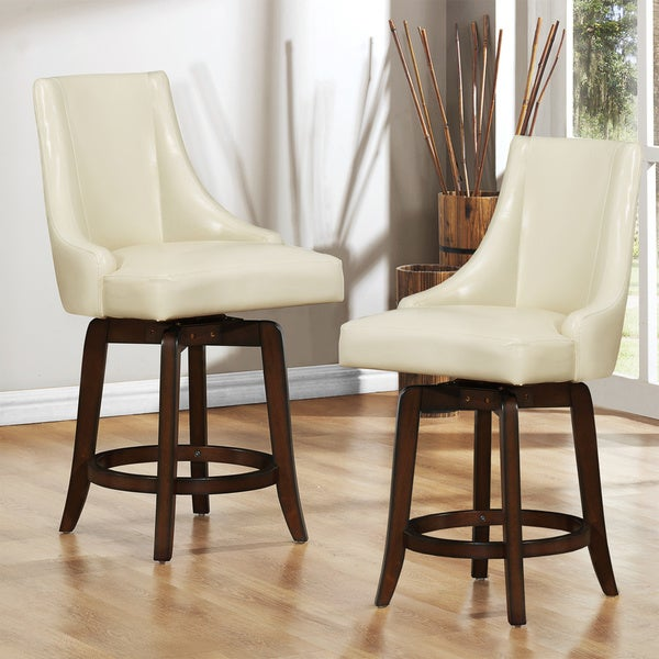 Tribecca Home Vella Cream White Swivel 24-inch Counter-height Stools (Set of 2)
