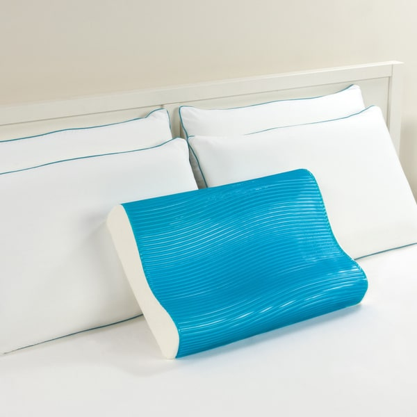 Comfort Memories Blue Wave Memory Foam and Gel Contour Pillow