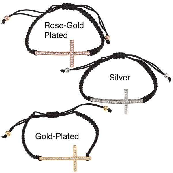 La Preciosa Sterling Silver CZ Cross on Black Macrame Sideways Bracelet