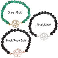 La Preciosa Sterling Silver CZ 'Love' Circle with Beads Stretch Bracelet
