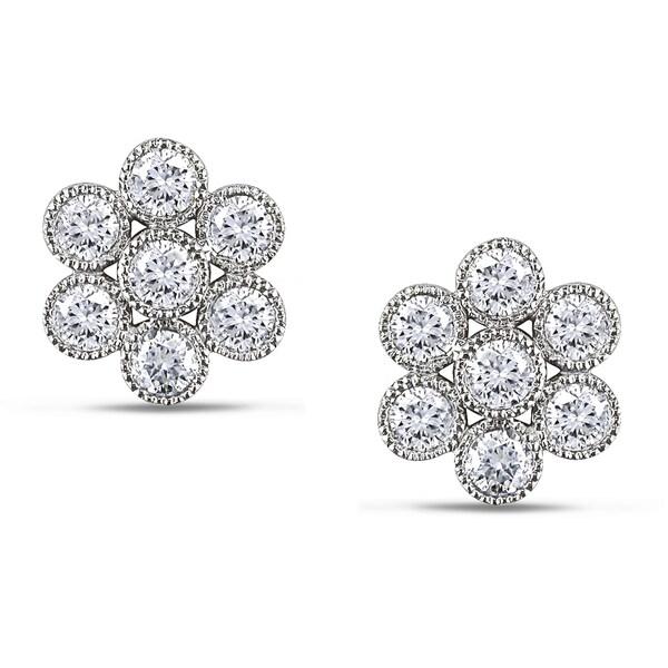Miadora 14k White Gold 1ct TDW Diamond Stud Earrings