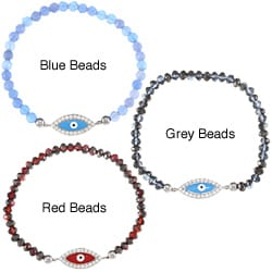 La Preciosa Sterling Silver Crystals with Enamel and CZ Evil Eye Stretch Bracelet