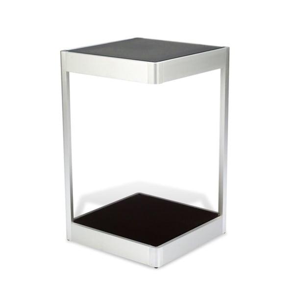 J&K Black Glass 16-inch Square End Table