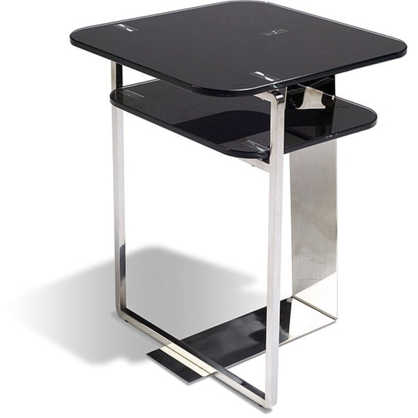 Jesper Office Black Glass/ Stainless Steel End Table