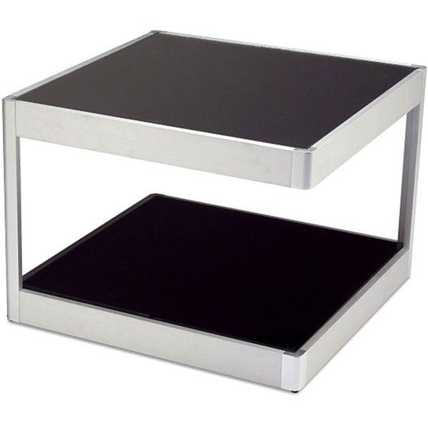 J&K Black Glass 22-inch Aluminum Frame End Table