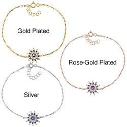 La Preciosa Sterling Silver CZ Sun Shaped 'Evil Eye' Bracelet (2 options available)