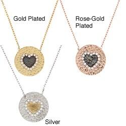 La Preciosa Sterling Silver CZ Hammered Disc Heart Necklace