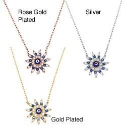 La Preciosa Sterling Silver CZ Sun-shaped 'Evil Eye' Necklace