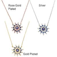 La Preciosa Sterling Silver CZ Sun-shaped 'Evil Eye' Necklace