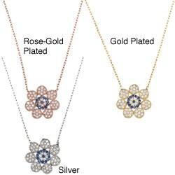 La Preciosa Sterling Silver CZ Center Flower Necklace (16-inch)