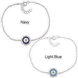 La Preciosa High-polish Sterling Silver White CZ Evil Eye Bracelet