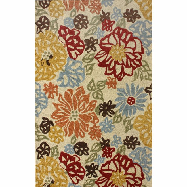 nuLOOM Handmade Bold Leaves Wool Rug (5' x 7'6)