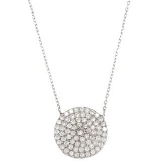 La Preciosa Sterling Silver 16-inch Cubic Zirconia Disc Necklace