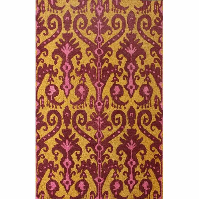 nuLOOM Handmade Modern Ikat Gold Wool Rug (5' x 7'6)