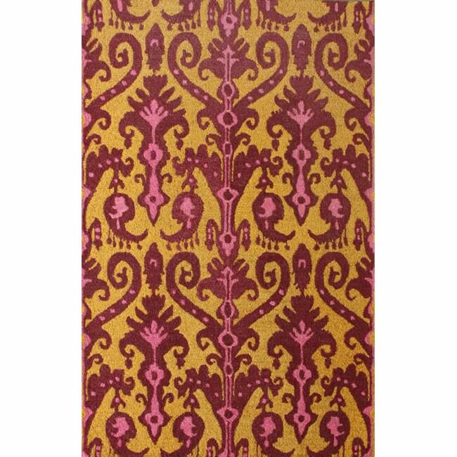 nuLOOM Handmade Modern Ikat Gold Wool Rug (7'6 x 9'6)
