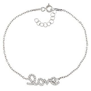 La Preciosa Sterling Silver CZ 'Love' Bracelet