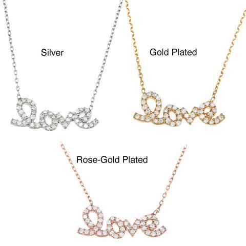 La Preciosa Sterling Silver CZ 'Love' Necklace (17-inch)