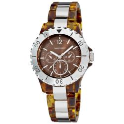 Vernier Women's Tortoise Resin/ Silver Faux Chrono Bracelet Watch