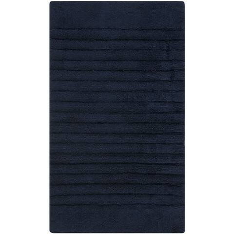 Safavieh Spa 2400 Gram Stripes Navy 27 x 45 Bath Rug (Set of 2) - 27' x 45'